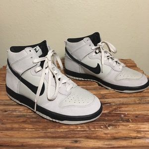 Mens Nike Dunk High Shoes White/Black Suede